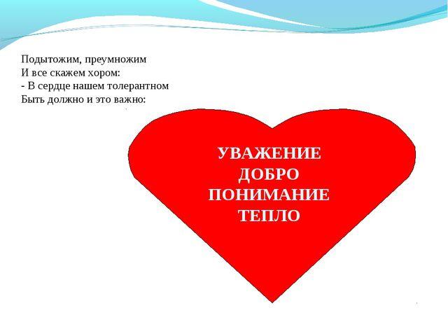 Подытожим, преумножим И все скажем хором: - В сердце нашем толерантном Быть д...