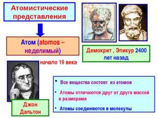 Атомистические представления Демокрит , Эпикур 2400 лет назад Атом (atomos –