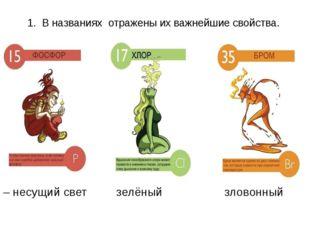 1. В названиях отражены их важнейшие свойства. Фосфор Хлор Бром – несущий све