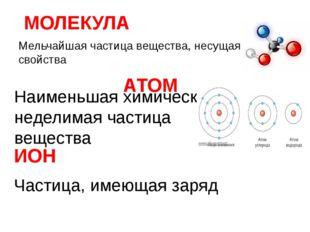 АТОМ Мельчайшая частица вещества, несущая его свойства МОЛЕКУЛА ИОН Наименьша