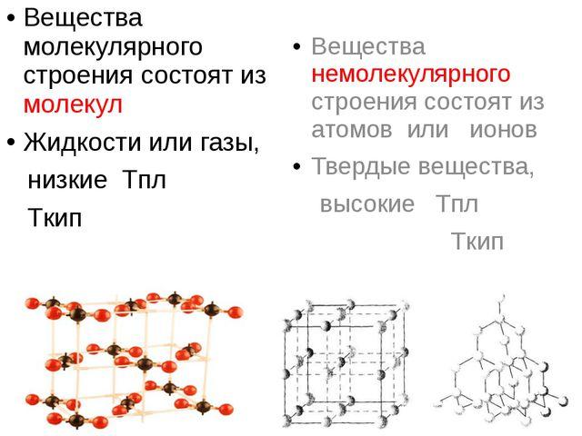 Вещества молекулярного строения состоят из молекул Жидкости или газы, низкие...
