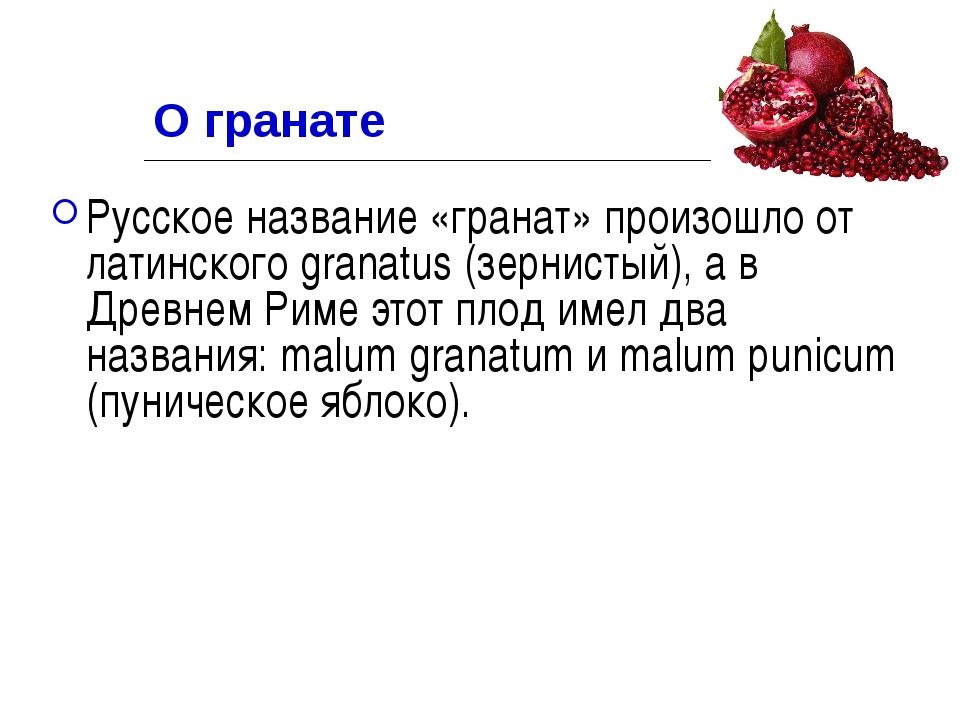 О гранате Русское название «гранат» произошло от латинского granatus (зернист...