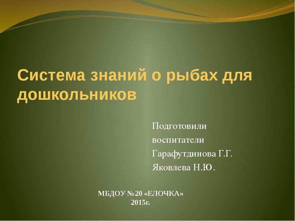 Система знаний о рыбах для дошкольников Подготовили воспитатели Гарафутдинова...