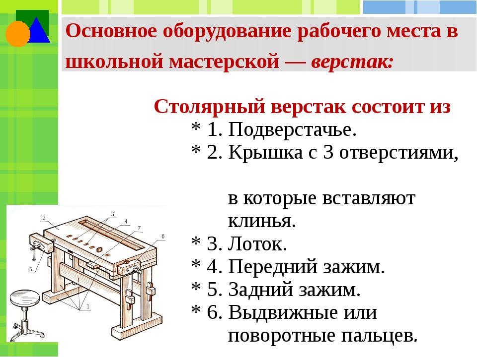 Основное оборудование рабочего места в школьной мастерской — верстак: Столярн...