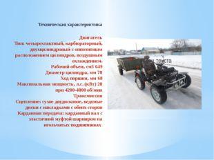Техническая характеристика Двигатель Тип: четырехтактный, карбюраторный, дву