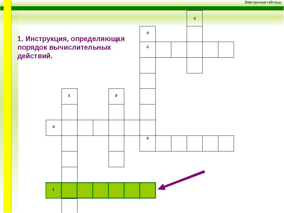 Электронные таблицы 4 4 ³ ² ¹ ² ¹ 1. Инструкция, определяющая порядок вычисли...