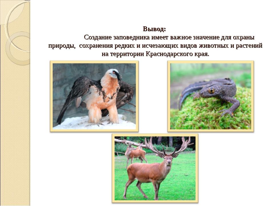 Вывод: Создание заповедника имеет важное значение для охраны природы, сохран...