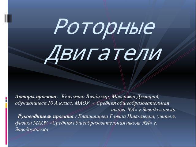 Авторы проекта: Кельметр Владимир, Максимов Дмитрий, обучающиеся 10 А класс,...