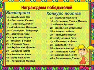 Конкурс поэтов 1а – Мараховская Катя 1б – Рахманина Лина и Марина 1г – Быков