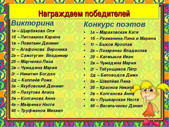 Конкурс поэтов 1а – Мараховская Катя 1б – Рахманина Лина и Марина 1г – Быков...
