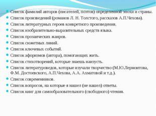 Список фамилий авторов (писателей, поэтов) определенной эпохи и страны. Списо