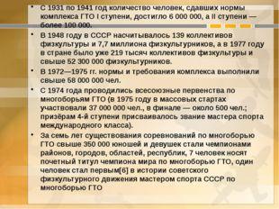С 1931 по 1941 год количество человек, сдавших нормы комплекса ГТО I ступени,