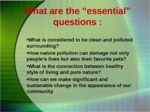 """What are the """"essential"""" questions : What is considered to be clean and pollu"""