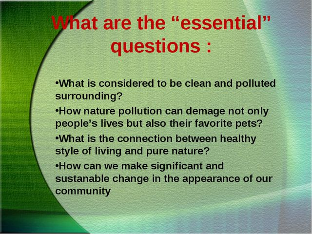 """What are the """"essential"""" questions : What is considered to be clean and pollu..."""