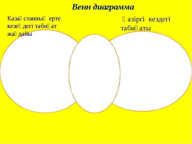 Венн диаграмма Казақстанның ерте кезеңдегі табиғат жағдайы Қазіргі кездегі та...