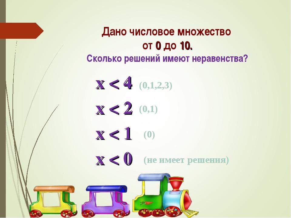 Дано числовое множество от 0 до 10. Сколько решений имеют неравенства? х < 4...