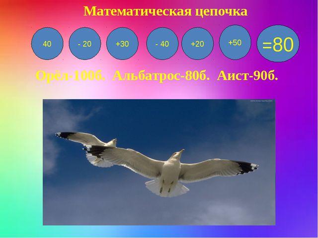 40 - 20 +30 - 40 +20 +50 =80 Орёл-100б. Альбатрос-80б. Аист-90б. Математическ...