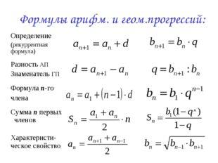 Формулы арифм. и геом.прогрессий: Определение (рекуррентная формула) Разност