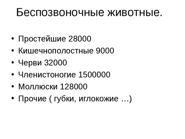 Беспозвоночные животные. Простейшие 28000 Кишечнополостные 9000 Черви 32000 Ч...