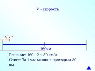 V - скорость 160км V - ? Решение: 160 : 2 = 80 км/ч Ответ: За 1 час машина пр
