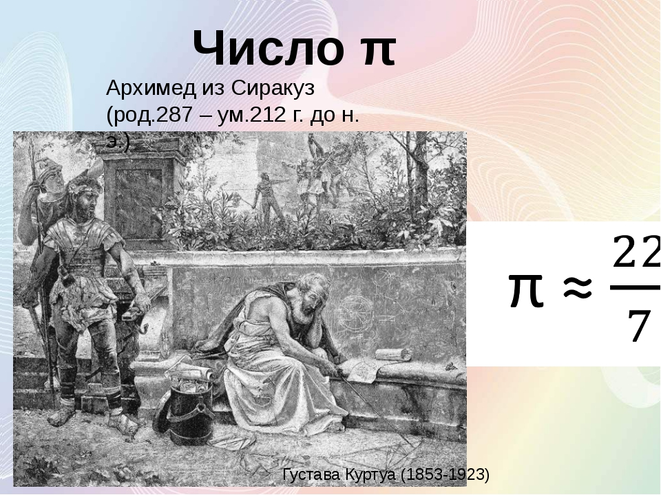 Густава Куртуа (1853-1923) Число π Архимед из Сиракуз (род.287 – ум.212 г. до...