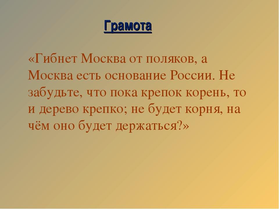 «Гибнет Москва от поляков, а Москва есть основание России. Не забудьте, что п...