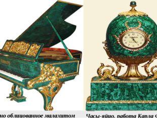 Пианино облицованное малахитом Часы-яйцо, работа Карла Фаберже.