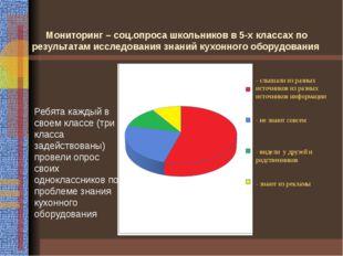 Мониторинг – соц.опроса школьников в 5-х классах по результатам исследования