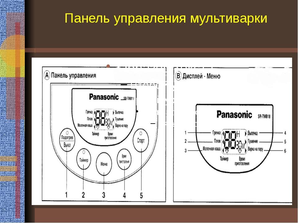 Панель управления мультиварки