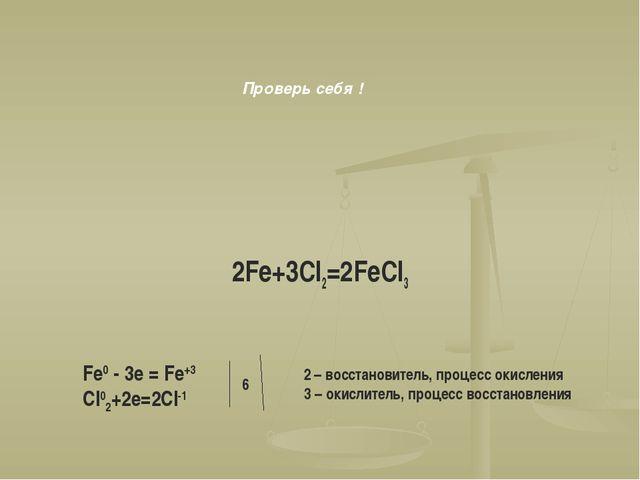 2Fe+3Cl2=2FeCl3 Fe0 - 3e = Fe+3 Cl02+2e=2Cl-1 6 2 – восстановитель, процесс о...