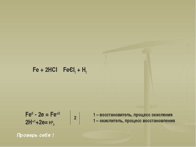 Fe + 2HCl FeCl2 + H2 Fe0 - 2e = Fe+2 2H+1+2e= H02 2 1 – восстановитель, проце...