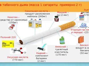 Состав табачного дыма (масса 1 сигареты примерно 2 г) Никотин – средство от н