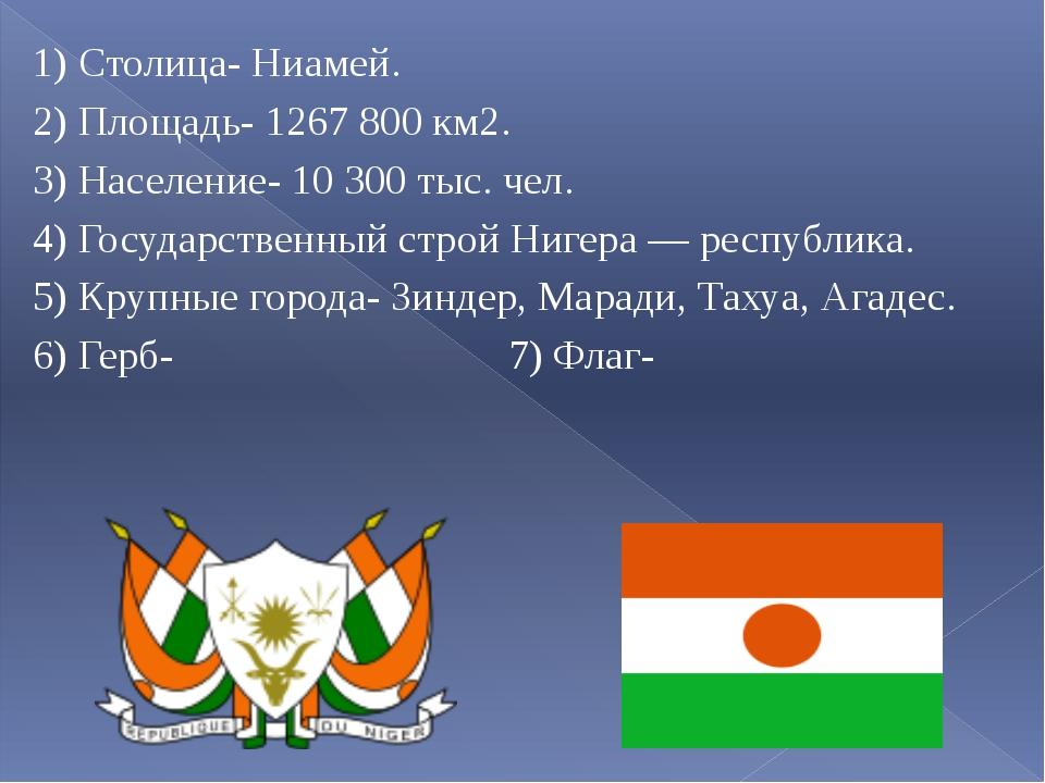 1) Столица- Ниамей. 2) Площадь- 1267 800 км2. 3) Население- 10 300 тыс. чел...