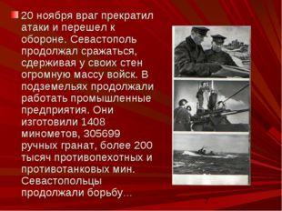 20 ноября враг прекратил атаки и перешел к обороне. Севастополь продолжал сра
