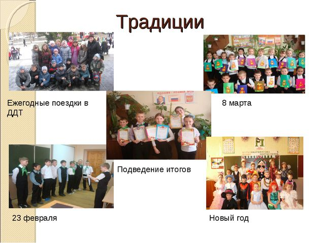 Традиции Ежегодные поездки в ДДТ 8 марта 23 февраля Подведение итогов Новый год