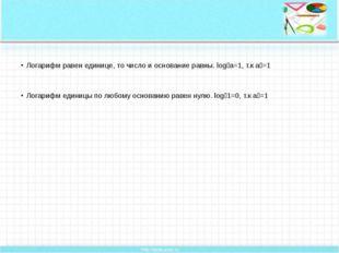 Логарифм равен единице, то число и основание равны. logₐа=1, т.к аᵅ=1 Логари
