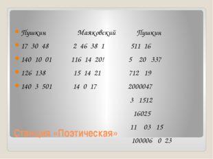 Станция «Поэтическая» Пушкин Маяковский Пушкин 17 30 48 2 46 38 1 511 16 140