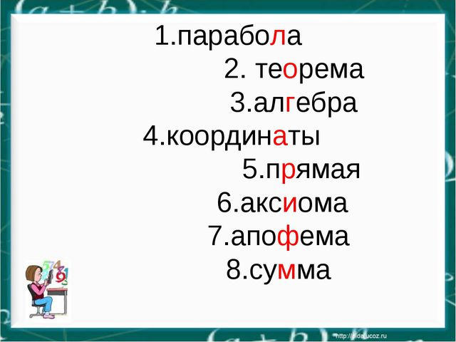 1.парабола 2. теорема 3.алгебра 4.координаты 5.прямая 6.аксиома 7.апофема 8.с...