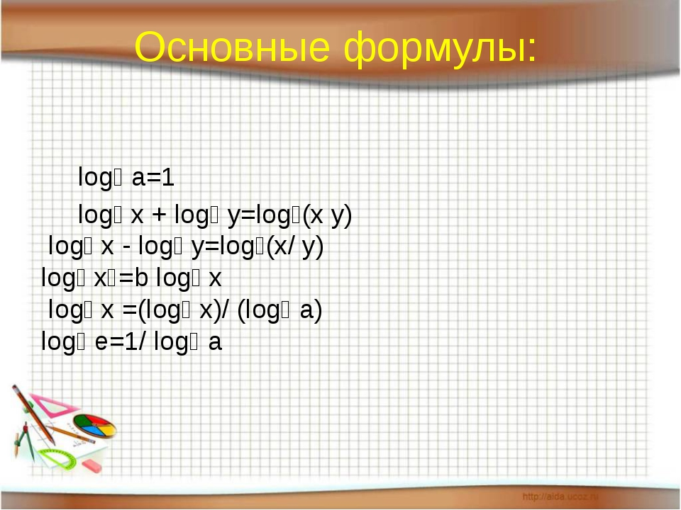 Основные формулы: logₐ a=1 logₐ x + logₐ y=logₐ(x y) logₐ x - logₐ y=logₐ(x/...