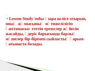• Lesson Study тобы өзара келісе отырып, оның жұмысының нәтижелілігін қамтам