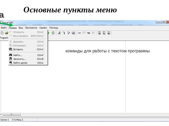 Основные пункты меню команды для работы с текстом программы Правка