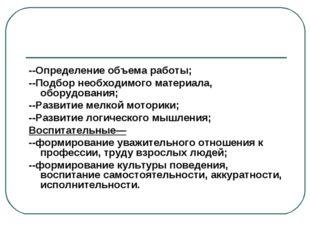 --Определение объема работы; --Подбор необходимого материала, оборудования; -