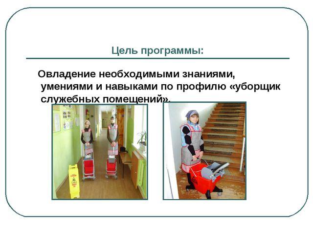 Цель программы: Овладение необходимыми знаниями, умениями и навыками по профи...