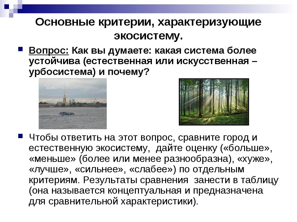 Основные критерии, характеризующие экосистему. Вопрос: Как вы думаете: какая...