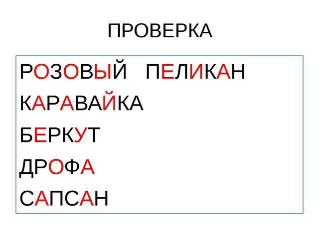 ПРОВЕРКА РОЗОВЫЙ ПЕЛИКАН КАРАВАЙКА БЕРКУТ ДРОФА САПСАН