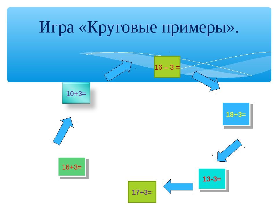 Игра «Круговые примеры».  16+3= 17+3= 16 – 3 = 13-3= 18+3=