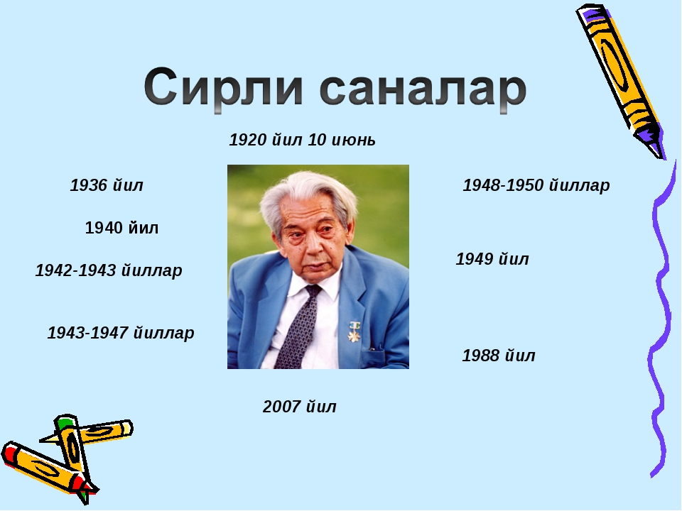 1920 йил 10 июнь 1942-1943 йиллар 1936 йил 1943-1947 йиллар 1948-1950 йиллар...