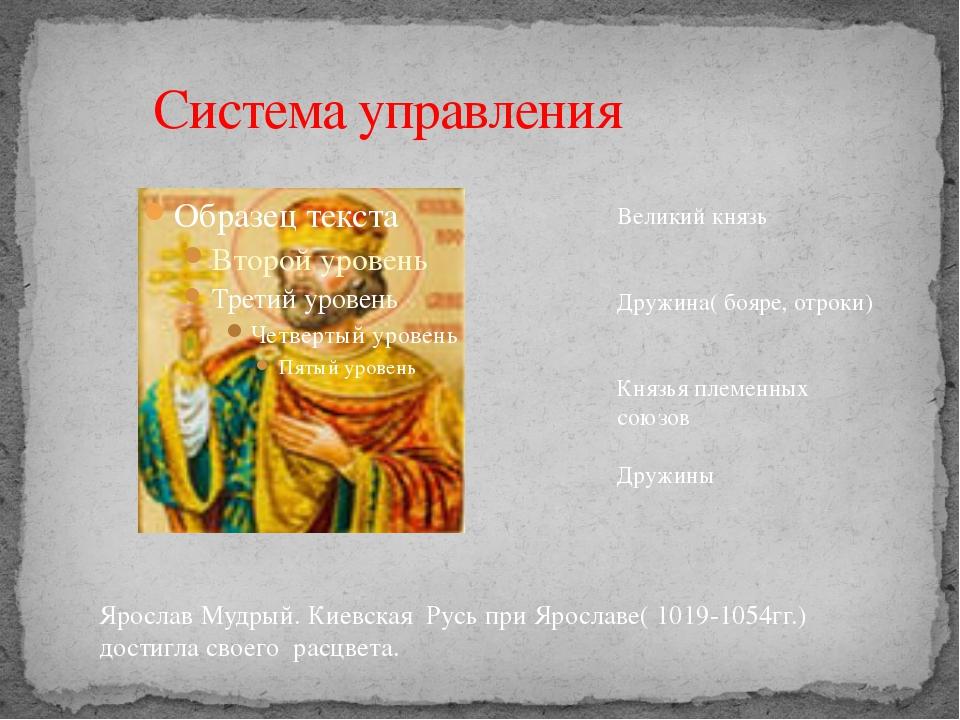 Система управления Великий князь Дружина( бояре, отроки) Князья племенных с...