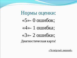Нормы оценки: «5»- 0 ошибок; «4»- 1 ошибка; «3»- 2 ошибки; Диагностическая ка