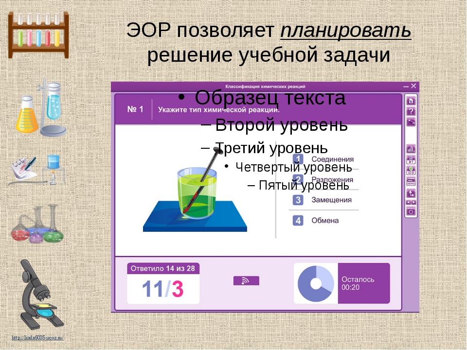 ЭОР позволяет планировать решение учебной задачи http://linda6035.ucoz.ru/